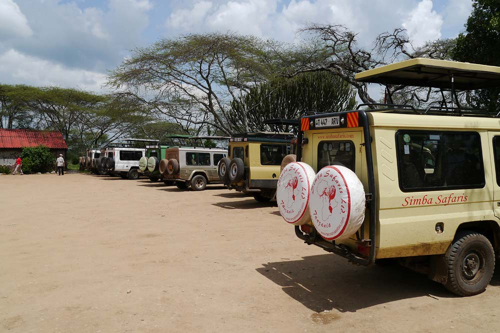 Safari Trucks in der Serengeti