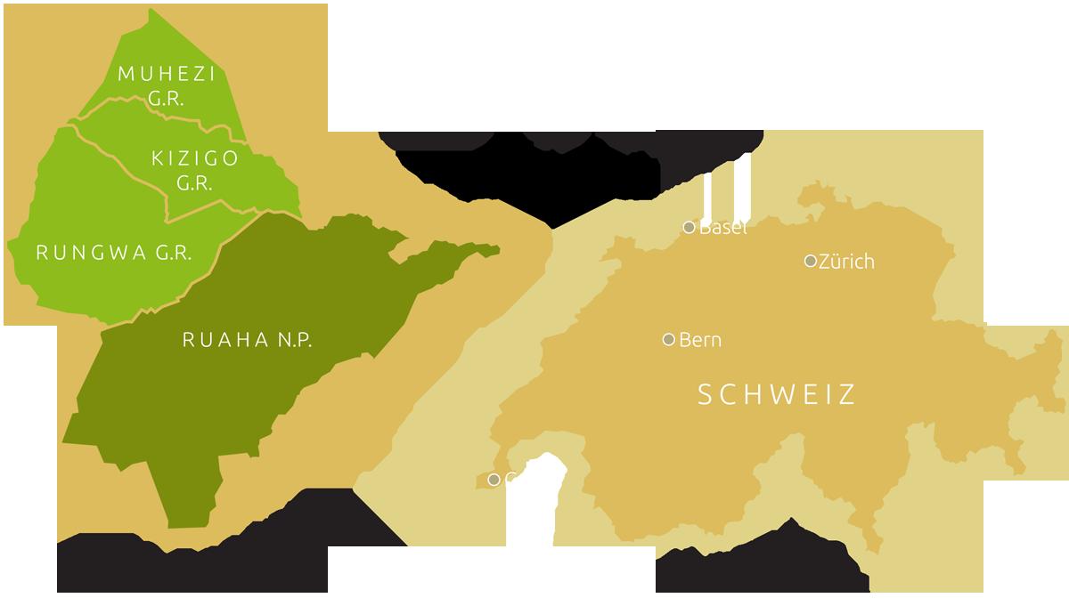 Größenvergleich Ruaha-Rungwa-Ökosystem